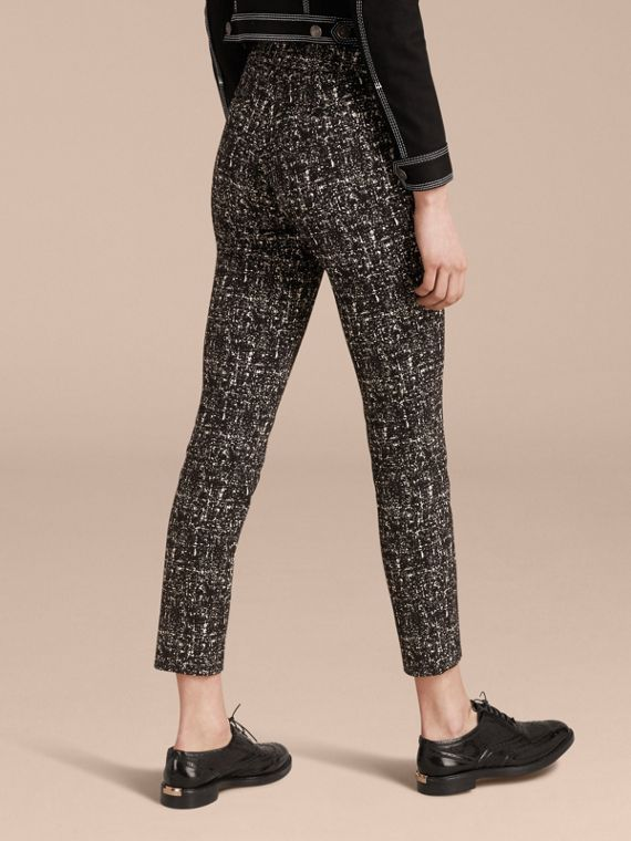 Black / white Abstract Check Wool Cotton Trousers - cell image 2