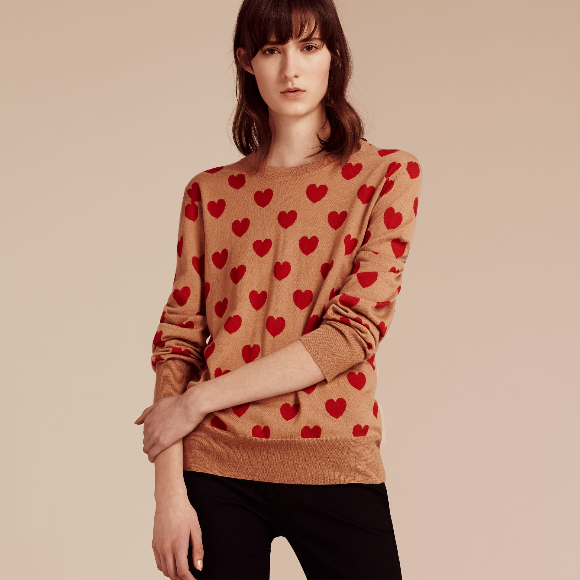 Heart Intarsia Merino Wool Sweater in Camel - Women | Burberry - gallery image 6