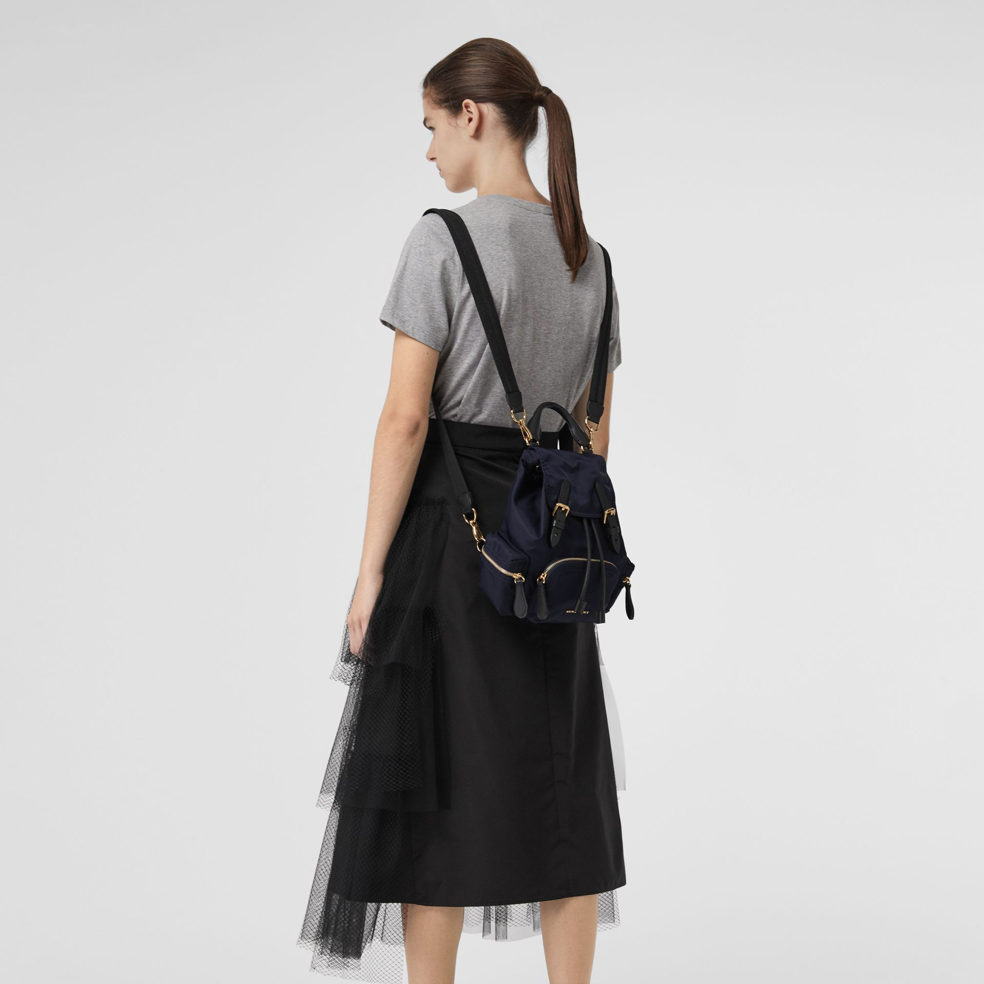 The Small Crossbody Rucksack in Nylon in Ink Blue - Women | Burberry Hong Kong - gallery image 6
