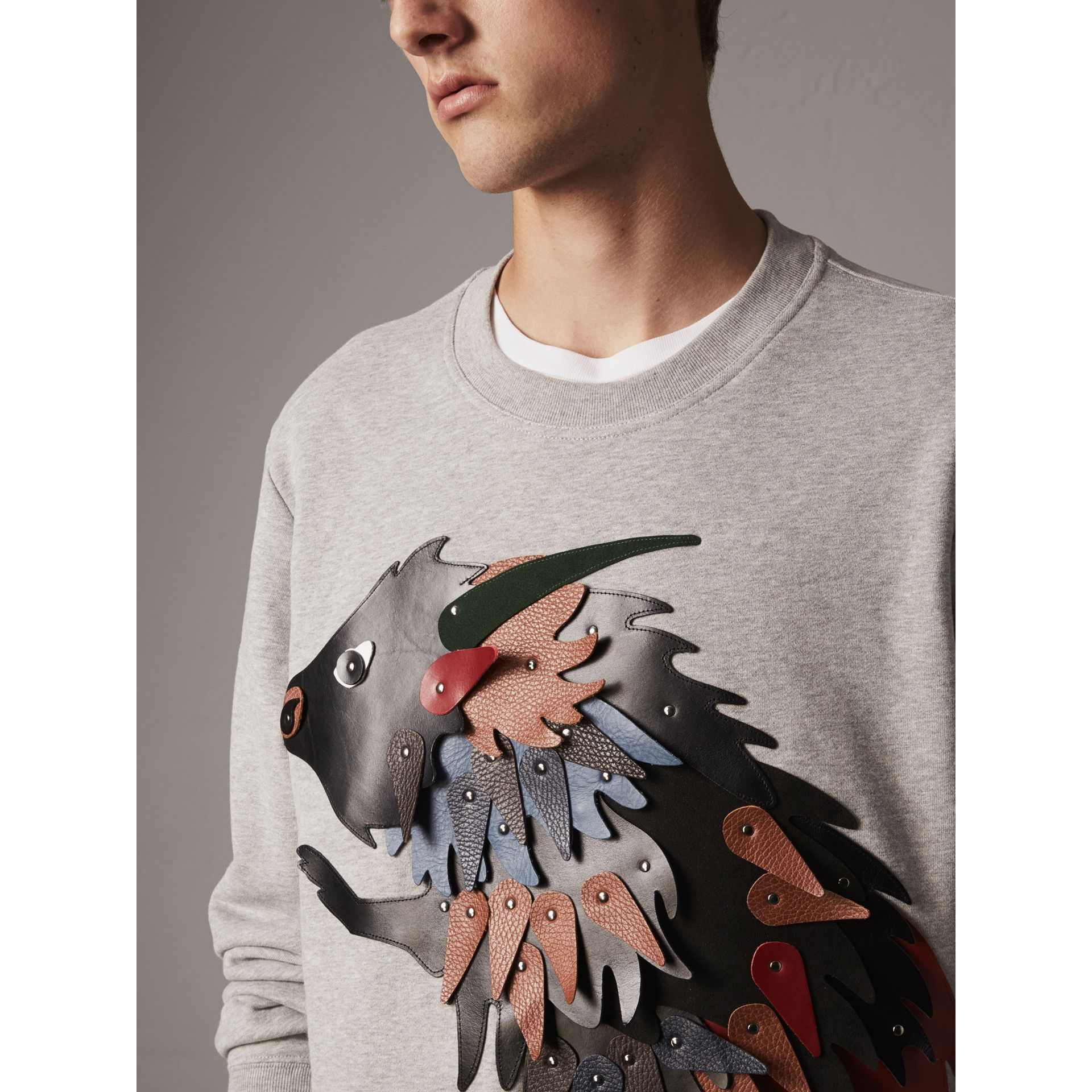 Unisex Beasts Leather Appliqué Cotton Sweatshirt in Pale Grey Melange - Men | Burberry - gallery image 1
