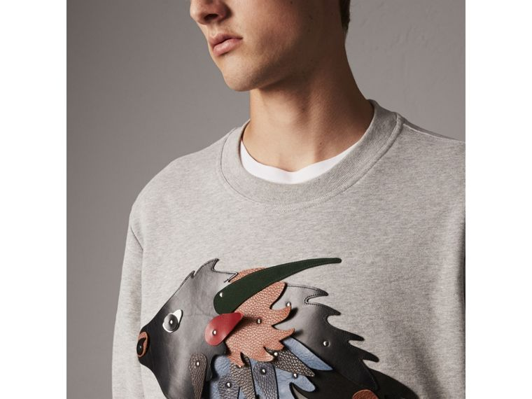 Unisex Beasts Leather Appliqué Cotton Sweatshirt in Pale Grey Melange - Men | Burberry - cell image 1