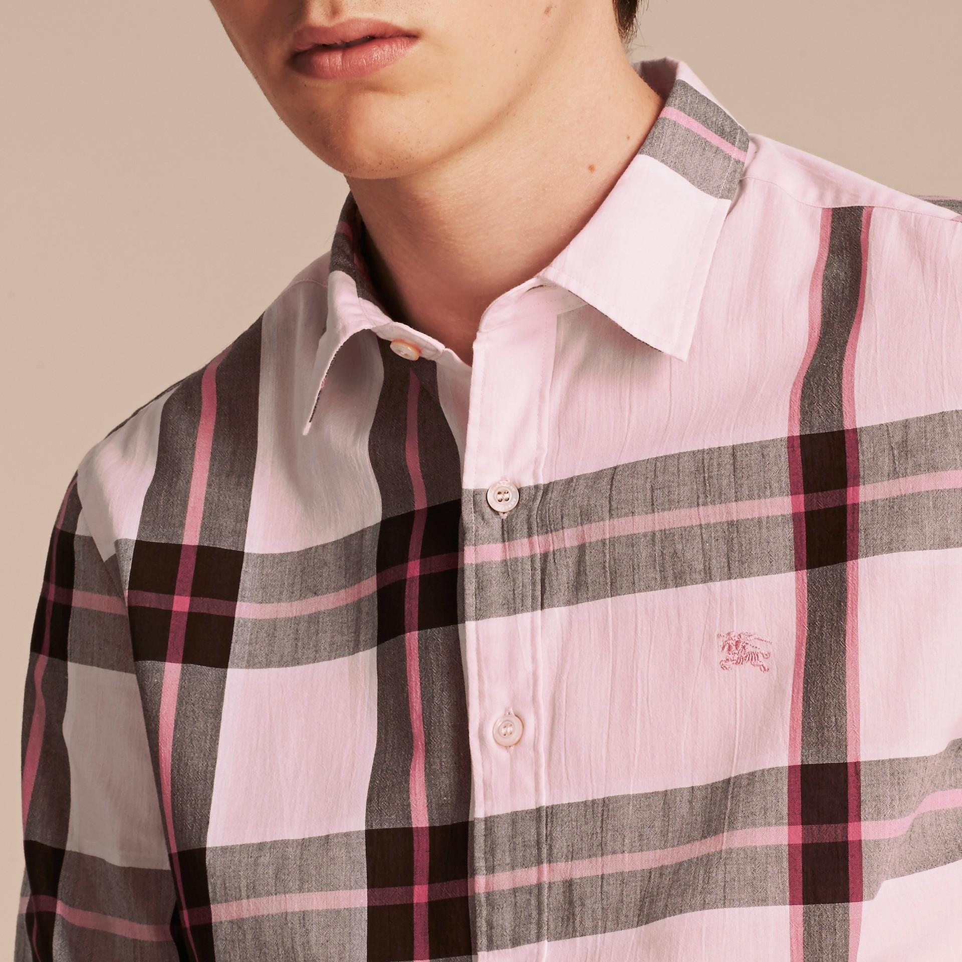 Check Cotton Shirt Light Pink - gallery image 5