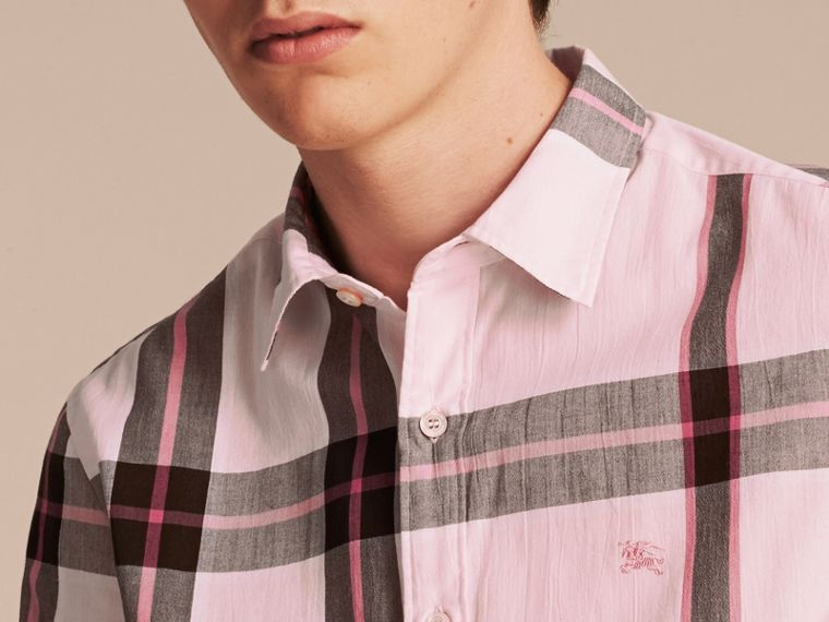 Check Cotton Shirt Light Pink - cell image 4