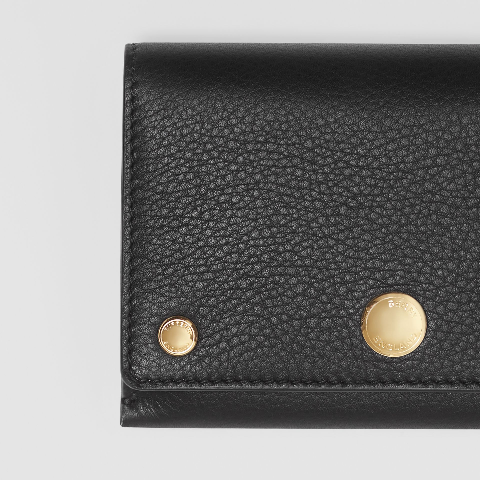 Triple Stud Leather Folding Wallet in Black - Women | Burberry - gallery image 1