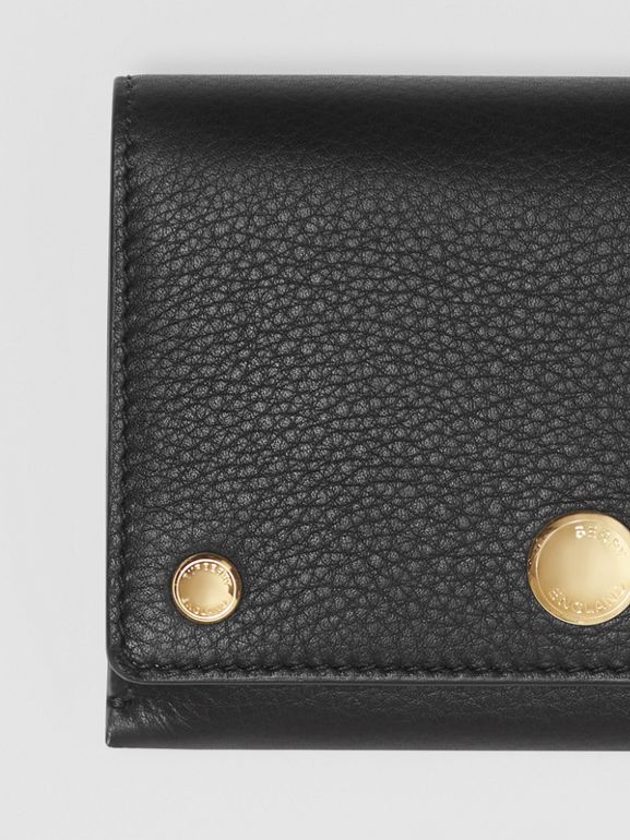 Triple Stud Leather Folding Wallet in Black - Women | Burberry - cell image 1