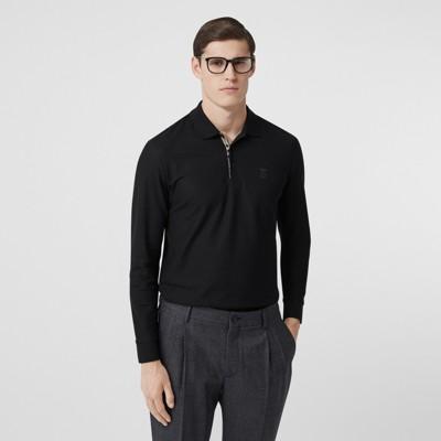 Long-sleeve Monogram Motif Cotton Piqué Polo Shirt in Black - Men ...
