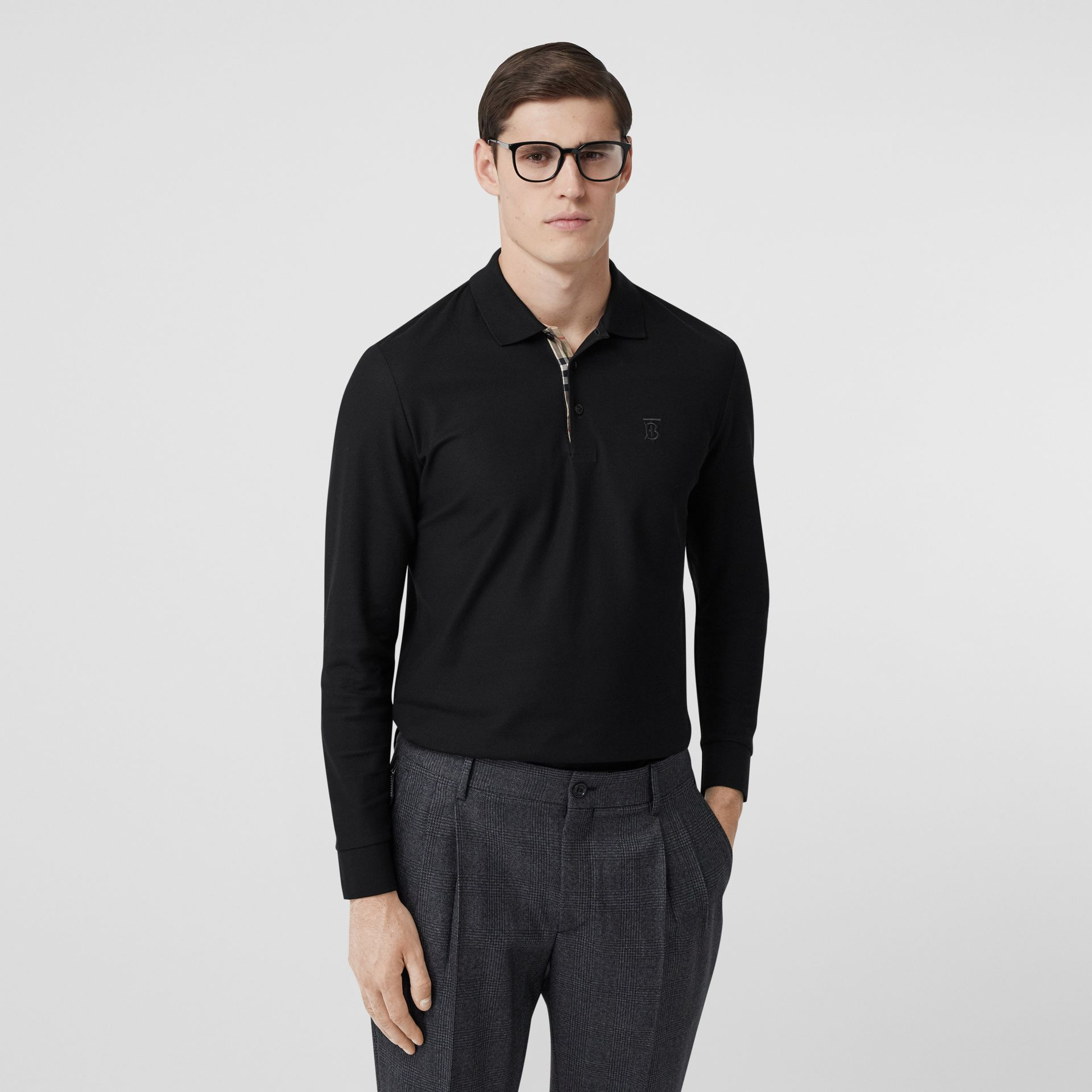 Long-sleeve Monogram Motif Cotton Piqué Polo Shirt in Black - Men | Burberry - gallery image 5