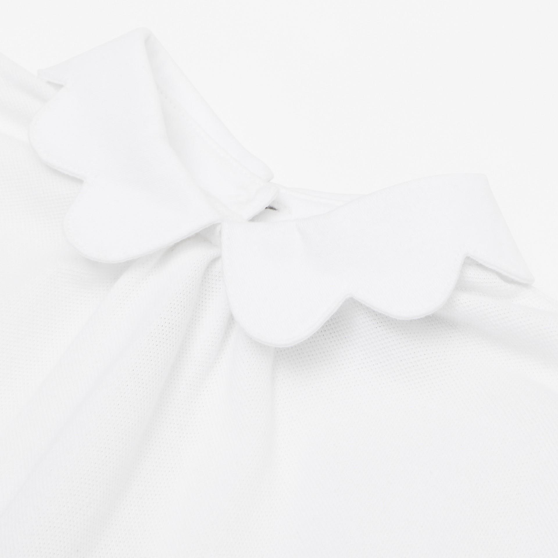 Body in cotone piqué con gonnellina con iconico motivo a righe (Bianco) - Bambini | Burberry - immagine della galleria 1