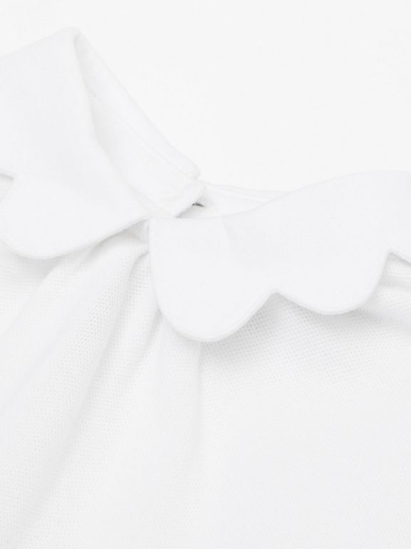 Body in cotone piqué con gonnellina con iconico motivo a righe (Bianco) - Bambini | Burberry - cell image 1