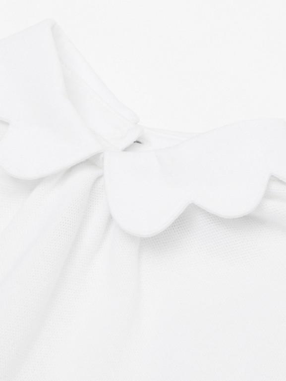Icon Stripe Skirt Cotton Piqué Bodysuit in White - Children | Burberry United Kingdom - cell image 1