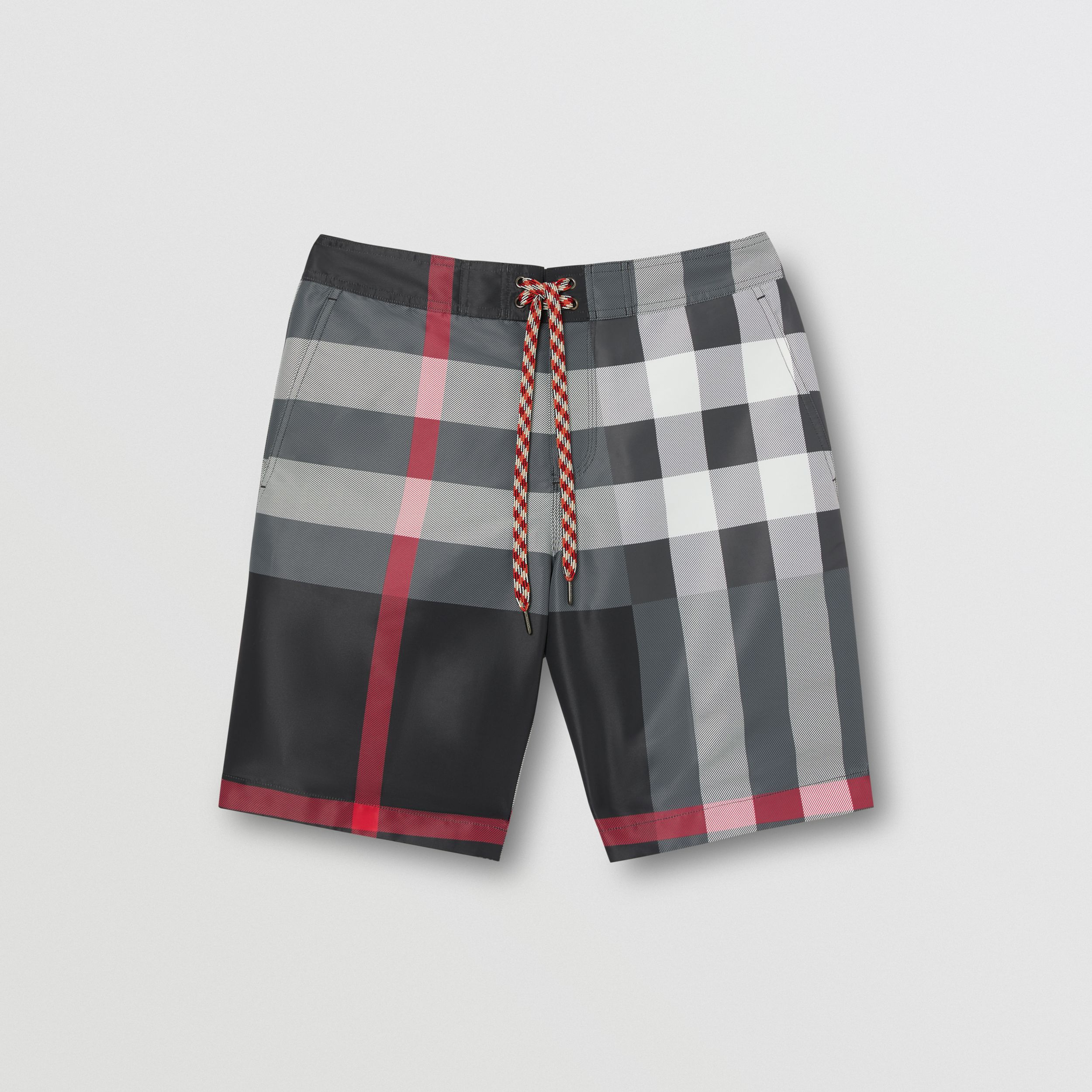 Check Swim Shorts in Charcoal - Men | Burberry - 3