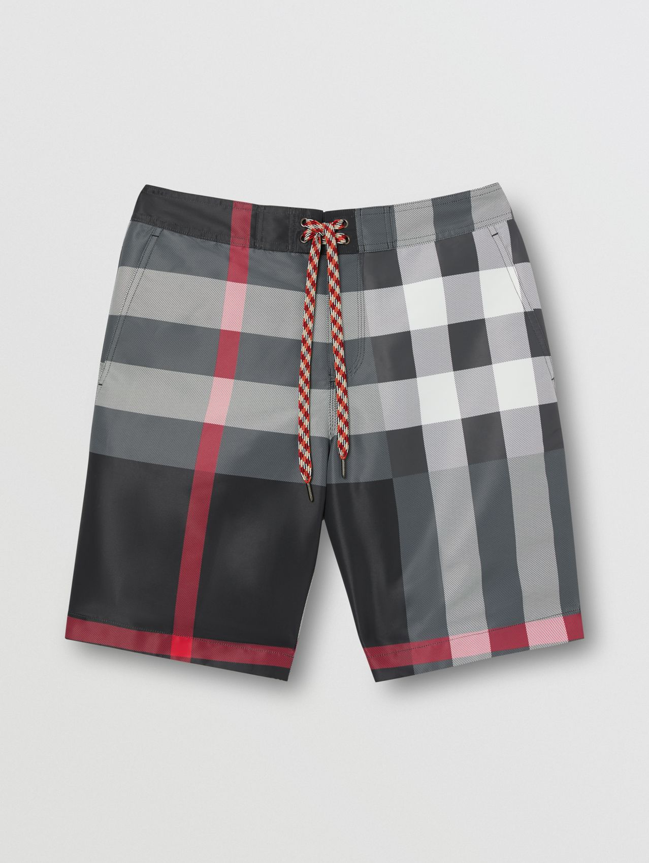 Check Swim Shorts in Charcoal