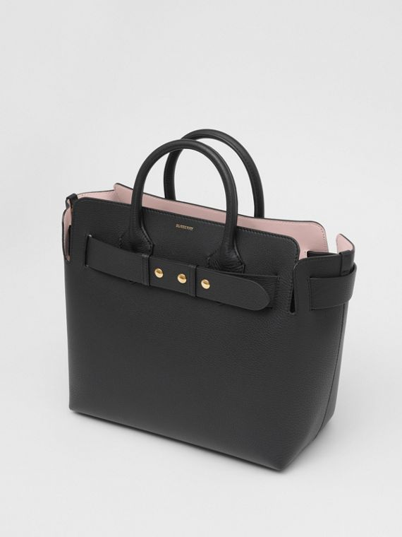 The Medium Leather Triple Stud Belt Bag in Black/alabaster Pink
