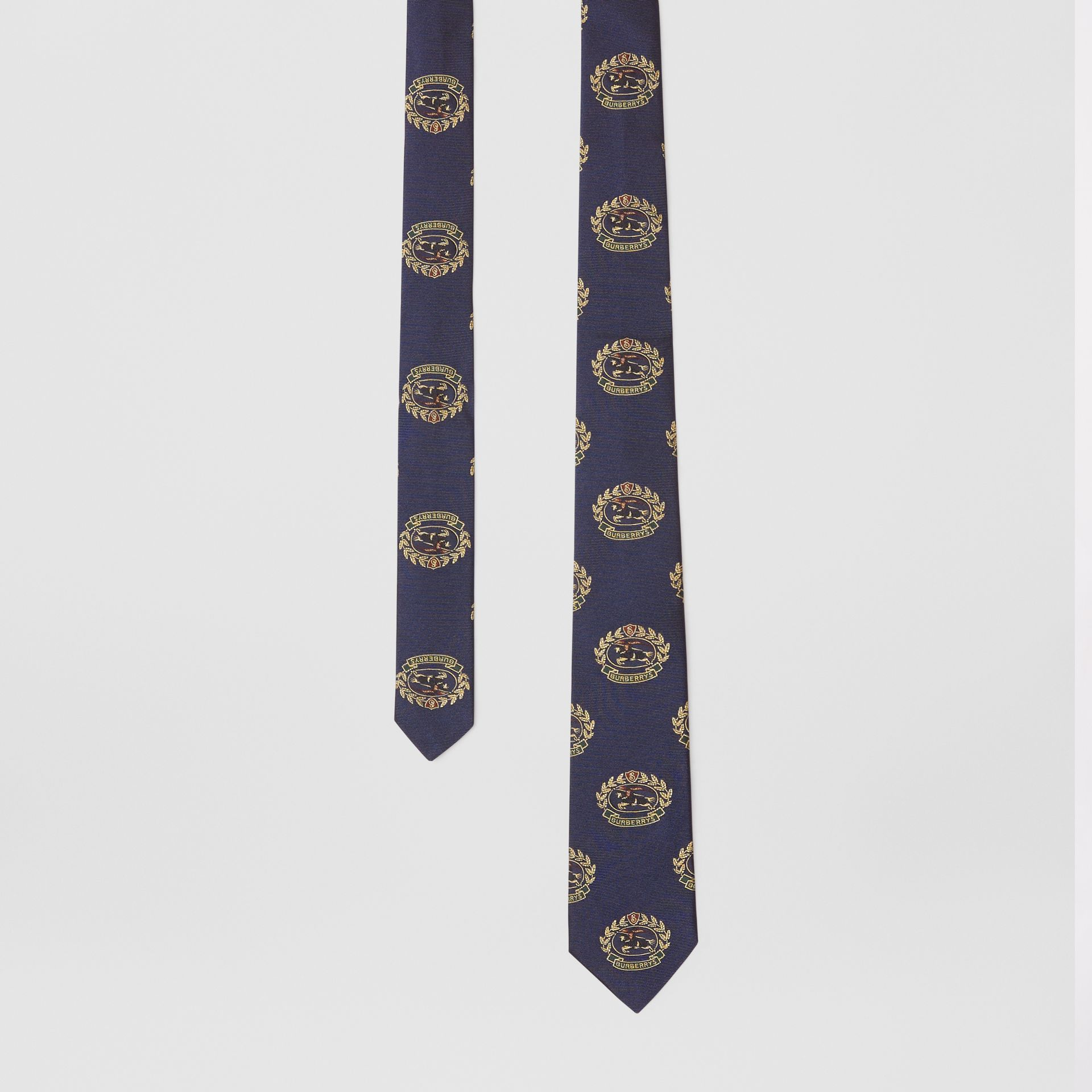 Slim Cut Archive Crest Silk Tie in Navy - Men | Burberry - gallery image 0