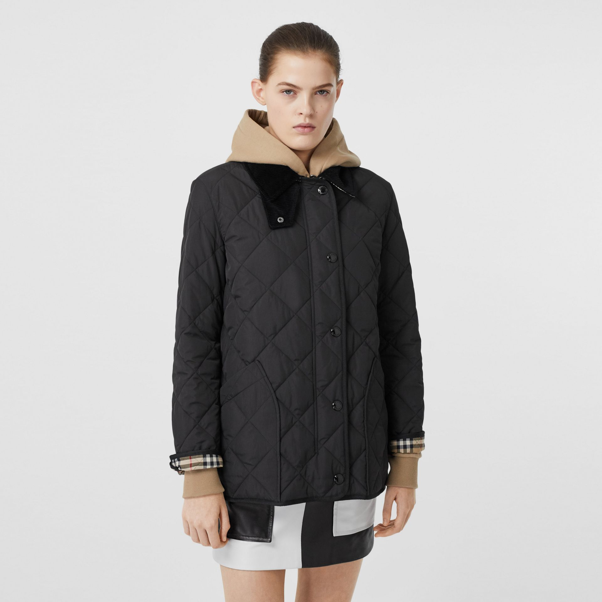 Diamond Quilted Thermoregulated Barn Jacket in Black - Women | Burberry - gallery image 5