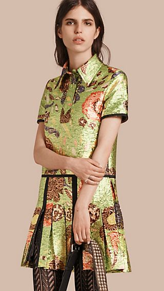 Lamé Floral Print Shirt Dress