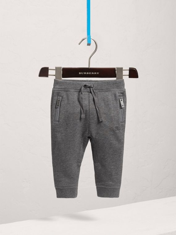 Drawcord Cotton Sweatpants in Charcoal Melange