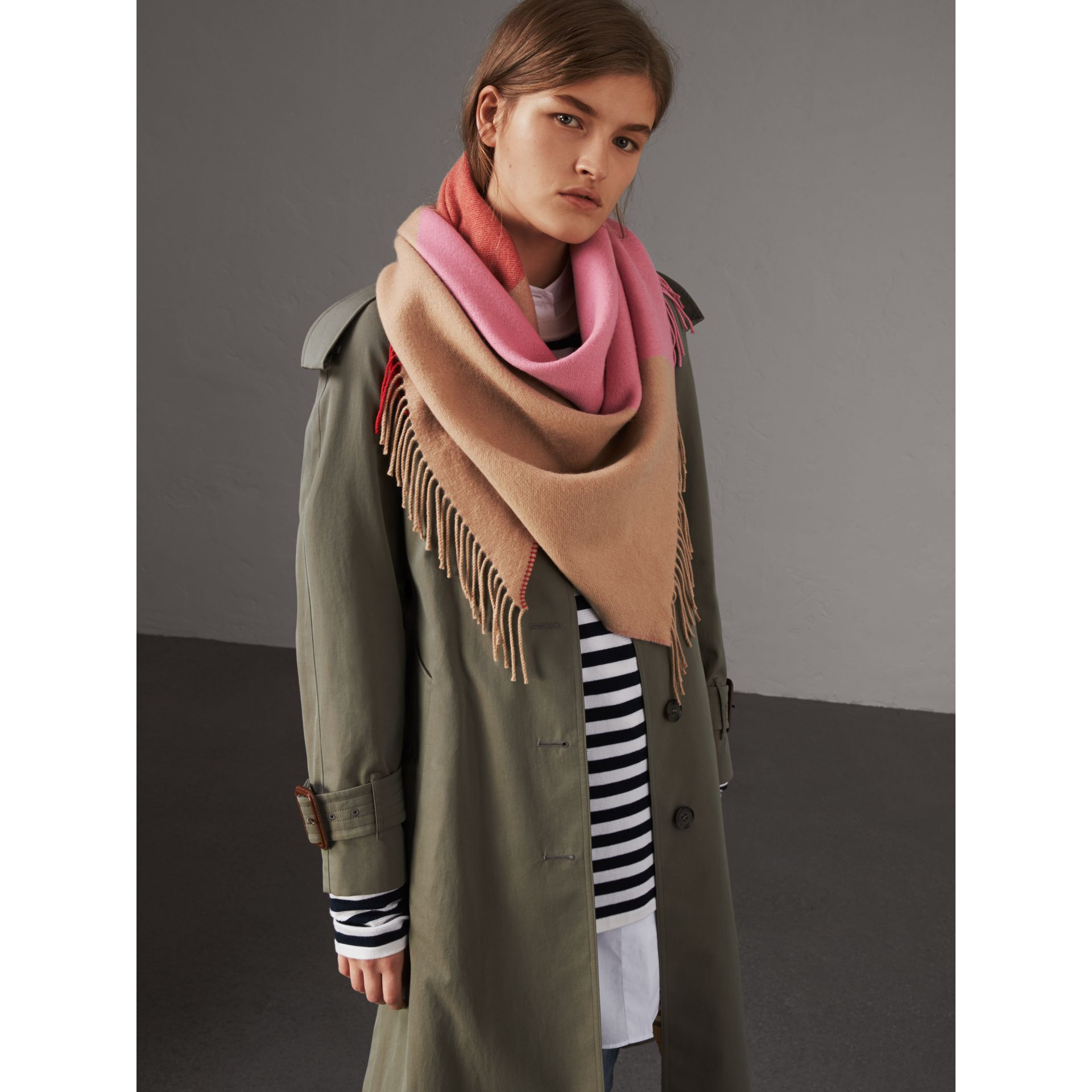 The Burberry Bandana in Striped Cashmere in Rose Pink | Burberry - gallery image 5