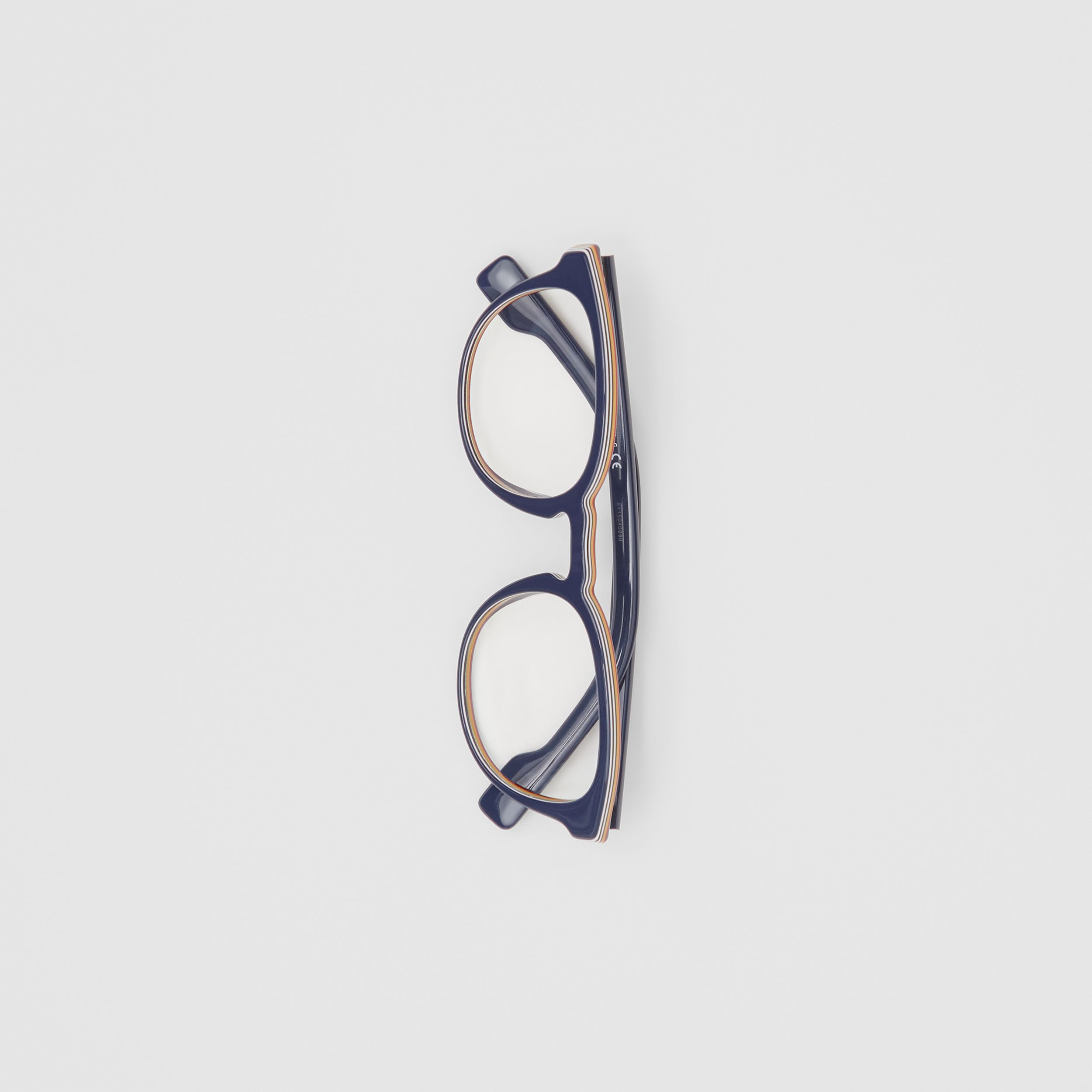 Icon Stripe Detail Round Optical Frames in Blue - Men | Burberry Canada - 4