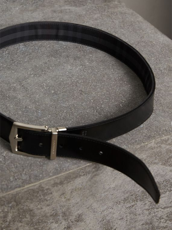 Reversible Horseferry Check and Leather Belt in Charcoal/black - Men | Burberry - cell image 3