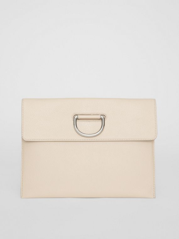 D-ring Leather Pouch in Stone