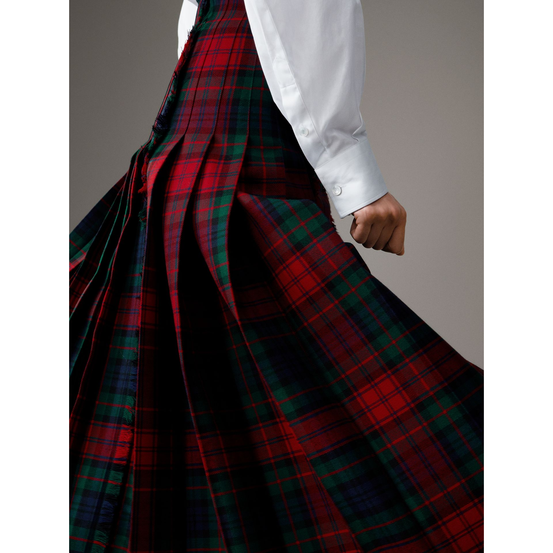 Tartan Wool High-waisted Kilt in Bright Red - Women | Burberry - gallery image 5