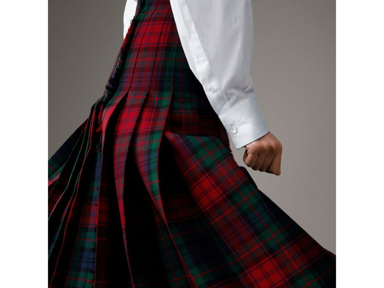 Tartan Wool High-waisted Kilt in Bright Red - Women | Burberry Singapore - cell image 4