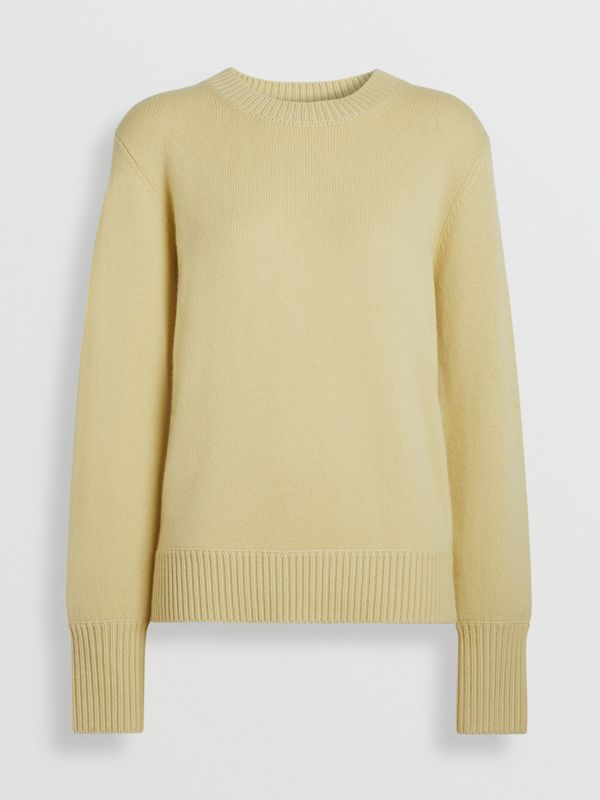 Archive Logo Appliqué Cashmere Sweater in Dusty Yellow - Women | Burberry Canada - cell image 3