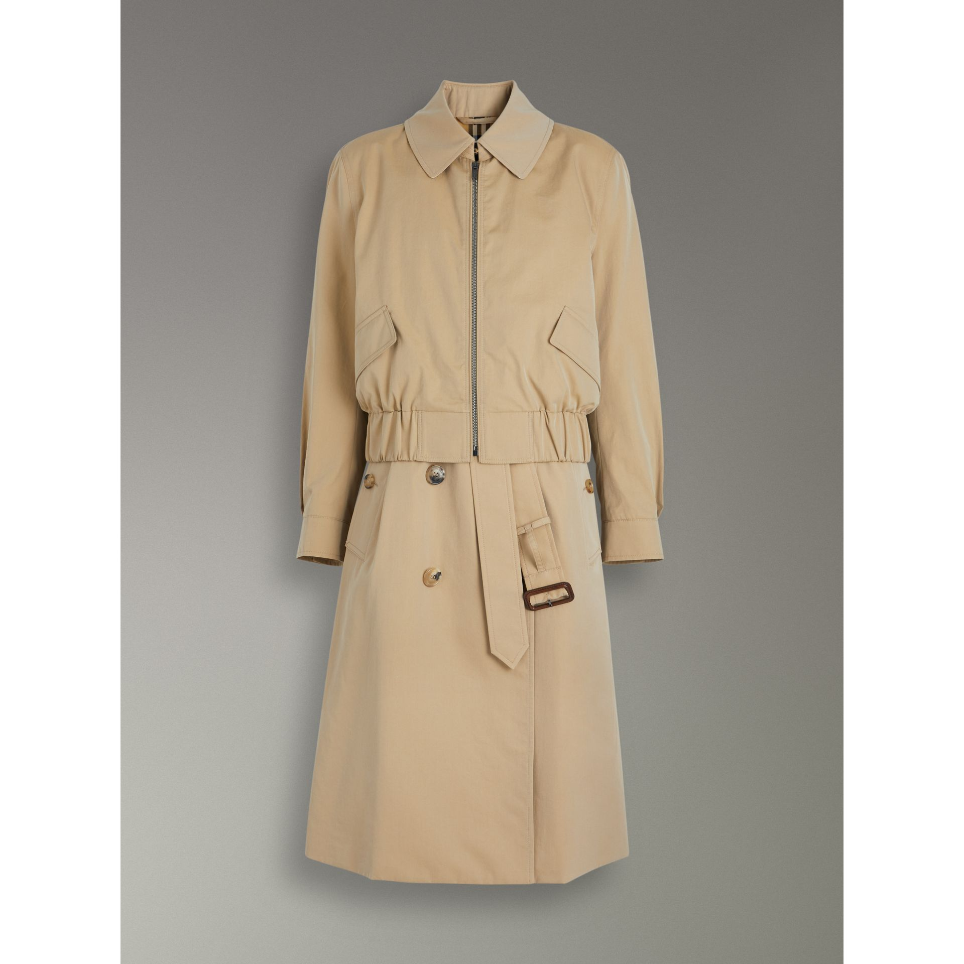 Tropical Gabardine Reconstructed Harrington Trench Coat in Honey - Women | Burberry - gallery image 3