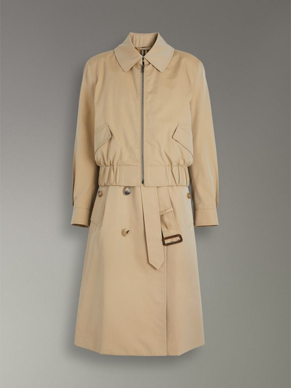 Tropical Gabardine Reconstructed Harrington Trench Coat in Honey - Women | Burberry - cell image 3