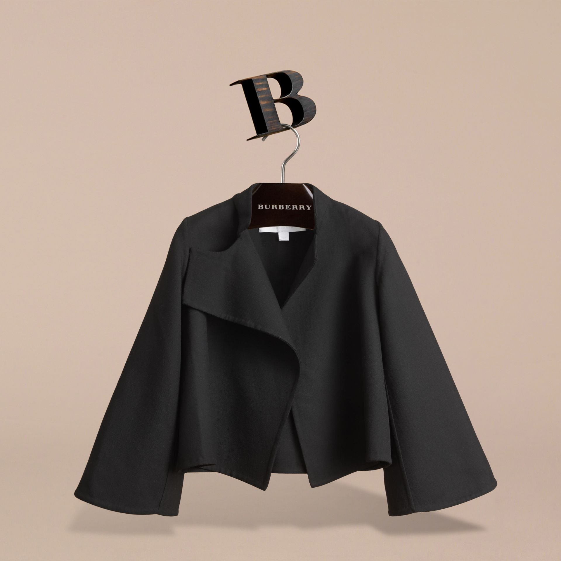 Bell-sleeve Double-faced Wool Jacket in Black | Burberry - gallery image 2
