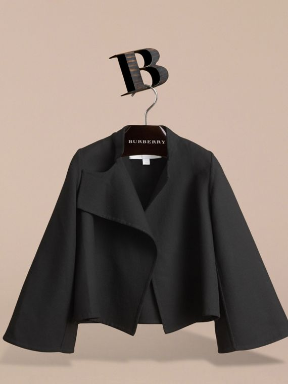 Bell-sleeve Double-faced Wool Jacket in Black - Girl | Burberry - cell image 2