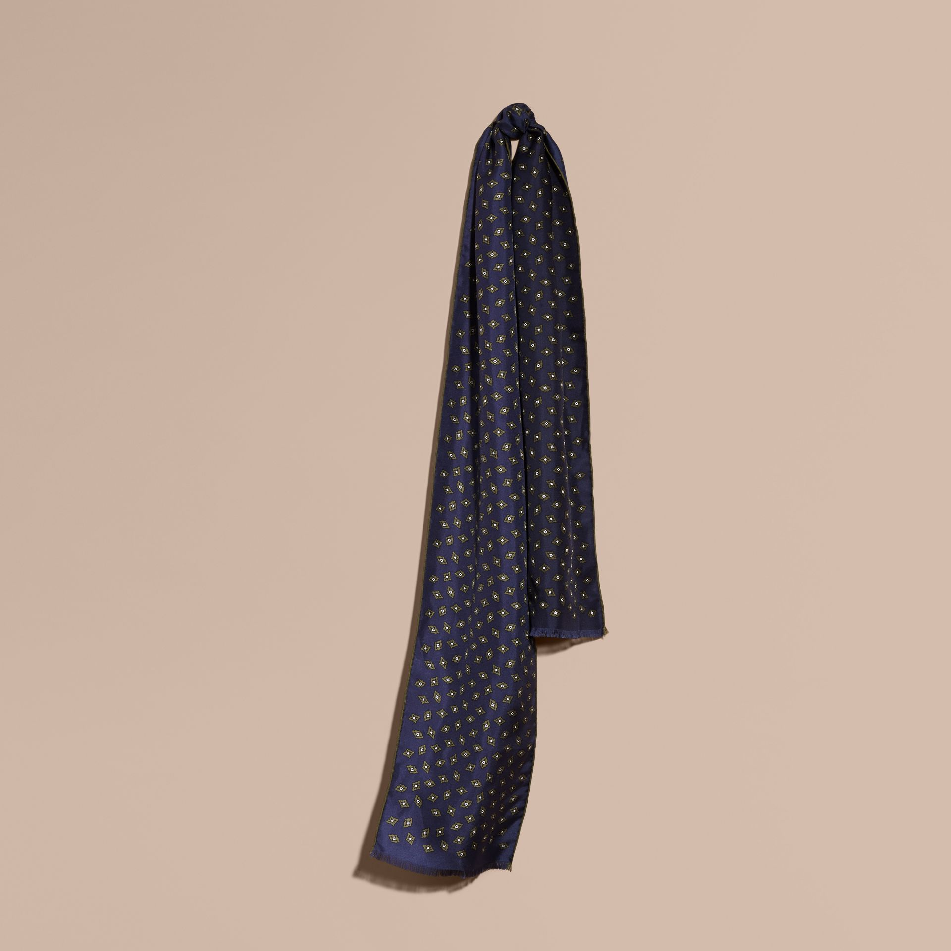 Navy Tie-inspired Print Silk Scarf - gallery image 1