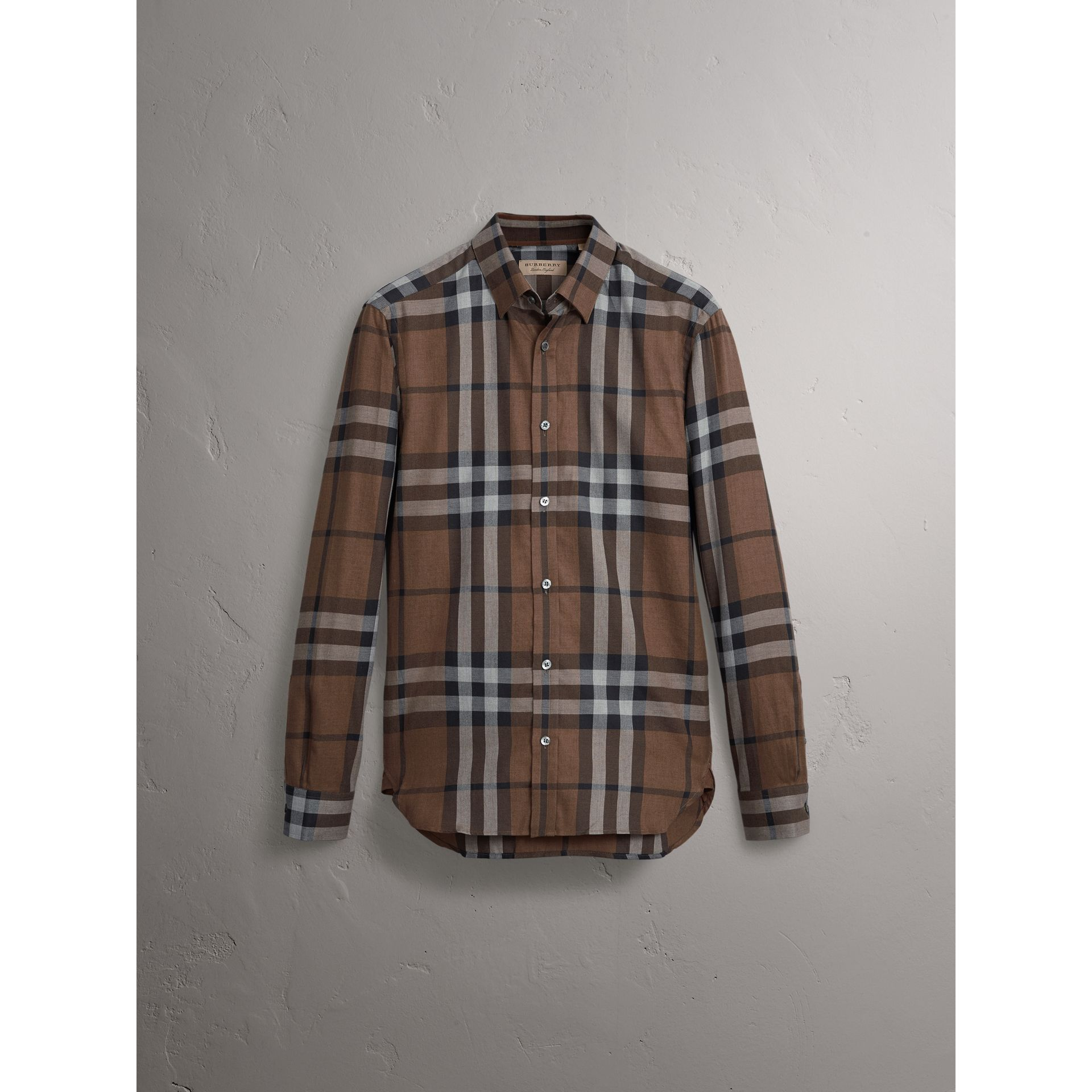Check Cotton Cashmere Flannel Shirt in Walnut - Men | Burberry Singapore - gallery image 3