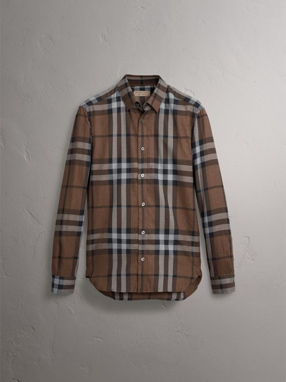 Check Cotton Cashmere Flannel Shirt in Walnut - Men | Burberry Singapore - cell image 3