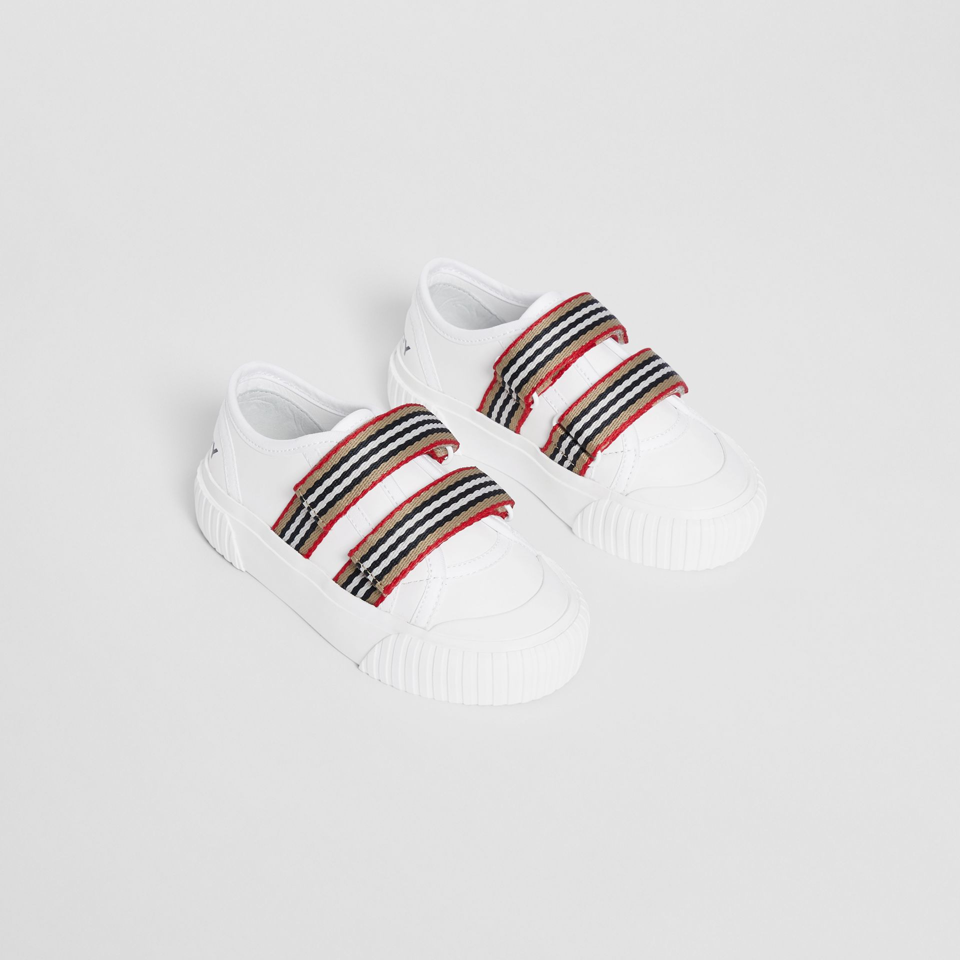Icon Stripe Detail Leather Sneakers in White - Children | Burberry - gallery image 0