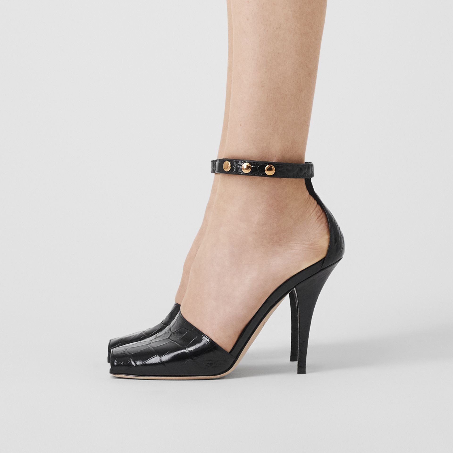 Triple Stud Embossed Leather Peep-toe Sandals in Black - Women | Burberry - gallery image 2