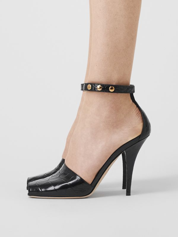 Triple Stud Embossed Leather Peep-toe Sandals in Black - Women | Burberry - cell image 2