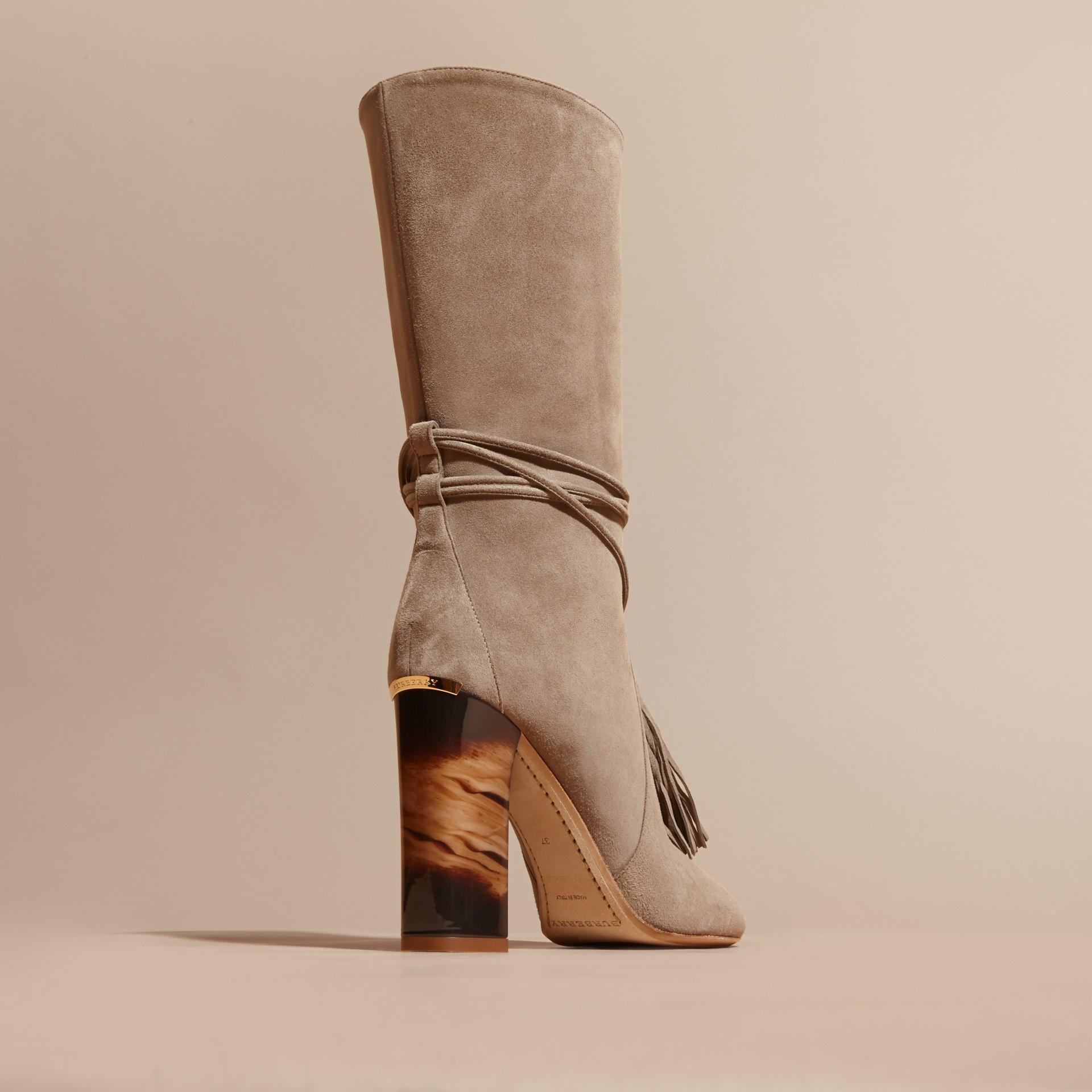Dark heather melange Tasselled Suede Pull-on Boots - gallery image 4