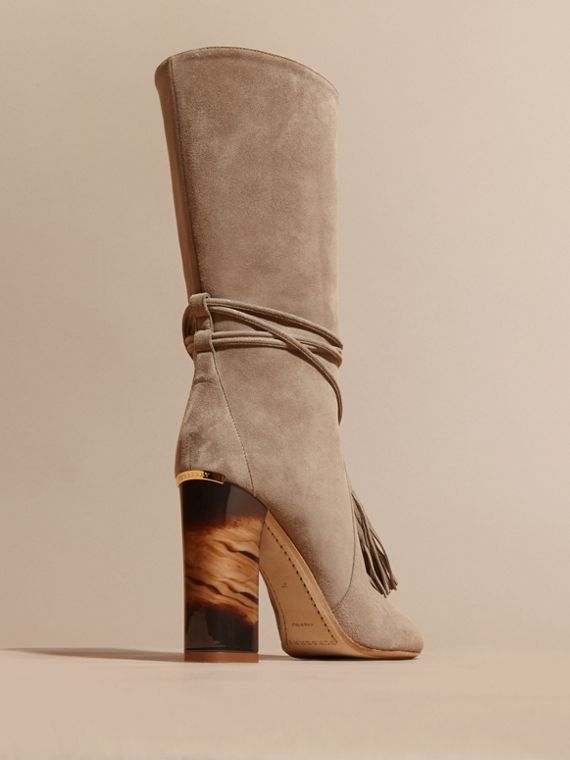 Dark heather melange Tasselled Suede Pull-on Boots - cell image 3