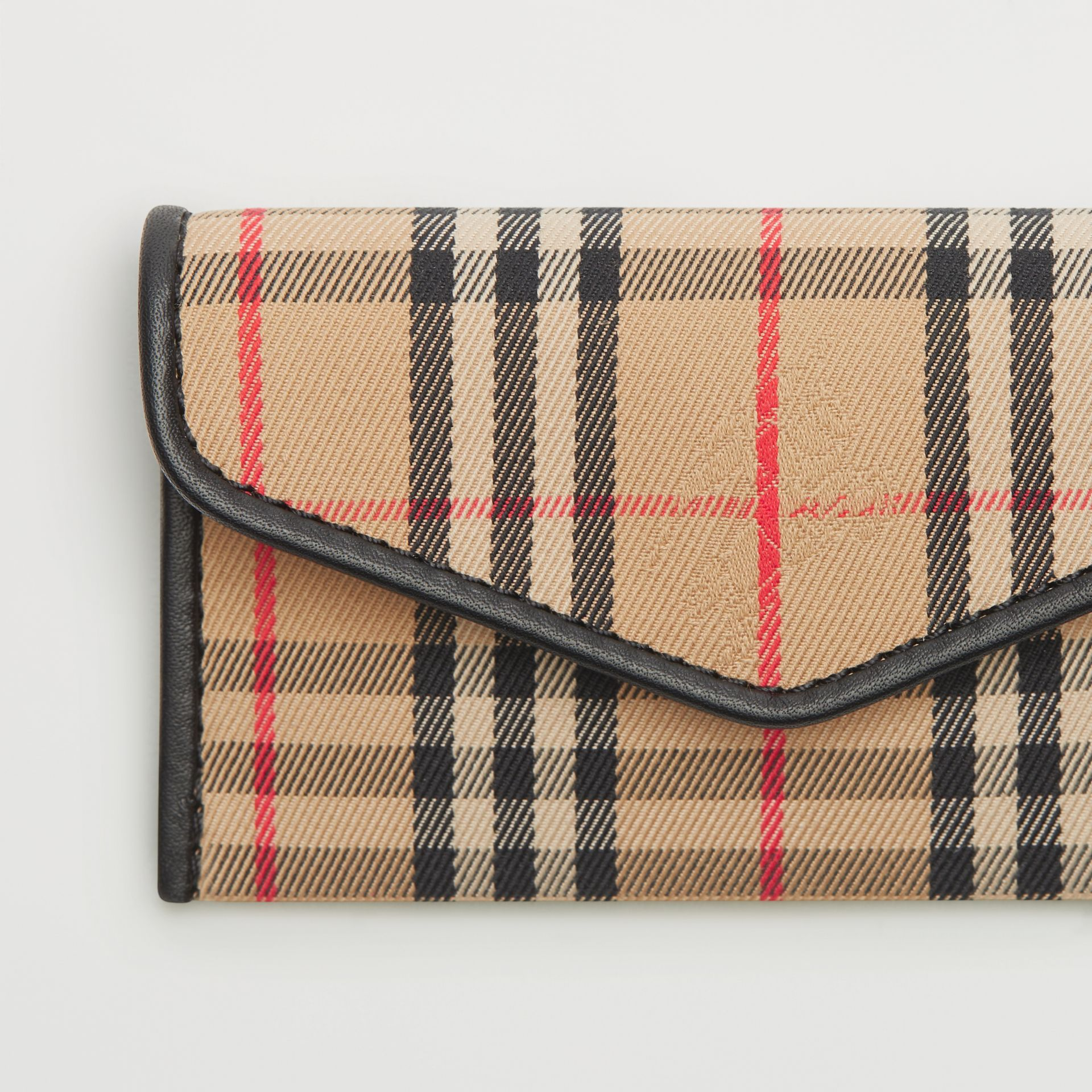 1983 Check and Leather Envelope Card Case in Black - Women | Burberry - gallery image 1