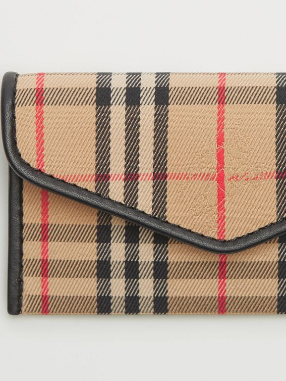 1983 Check and Leather Envelope Card Case in Black - Women | Burberry - cell image 1