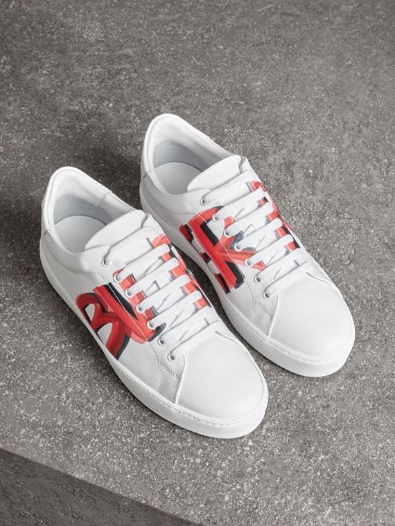 Graffiti Print Leather Sneakers in Bright Red