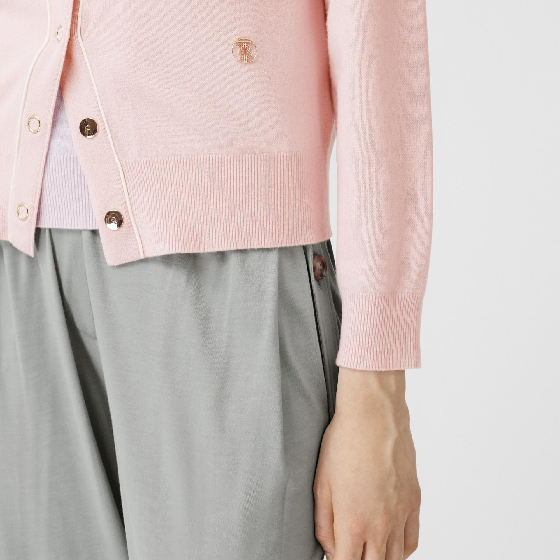 Silk Trim Monogram Motif Cashmere Cardigan in Copper Pink - Women | Burberry United Kingdom - gallery image 4