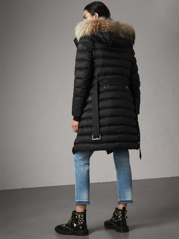 Detachable Fur Trim Down-filled Puffer Coat with Hood in Black - Women | Burberry Singapore - cell image 2