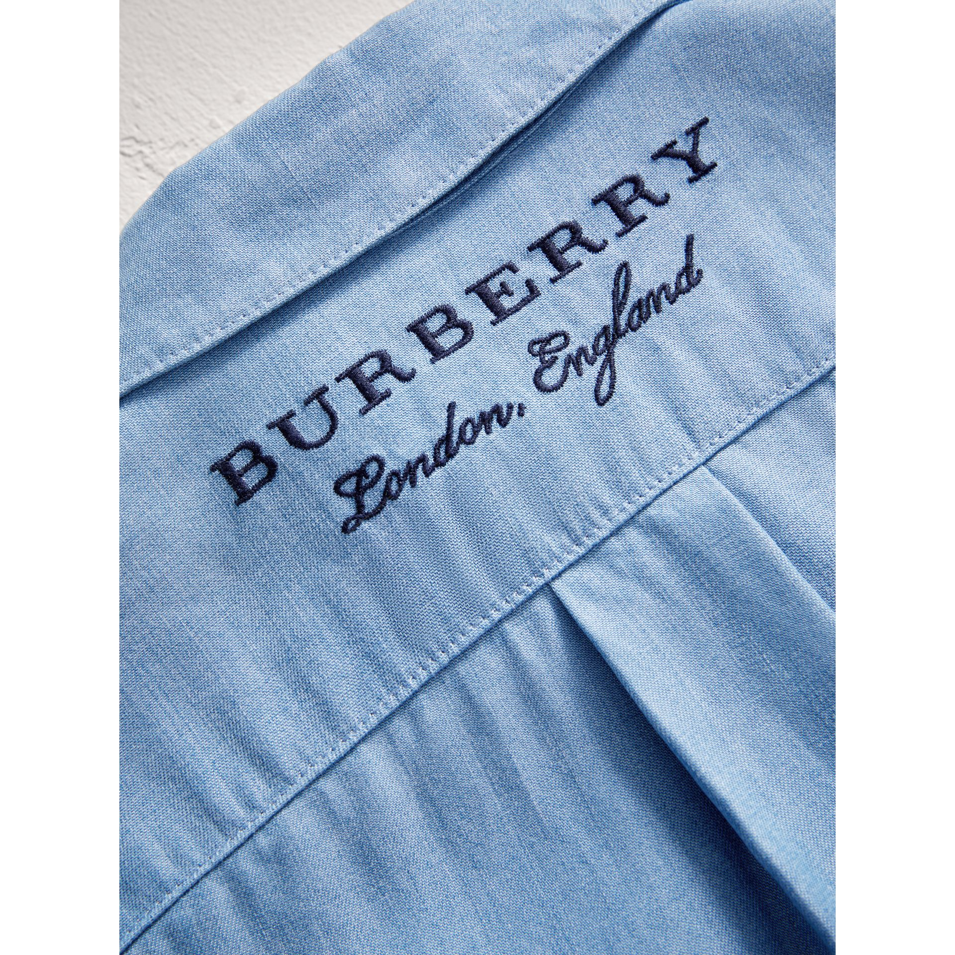 Short-sleeve Chambray Jumpsuit in Steel Blue - Girl | Burberry United States - gallery image 1