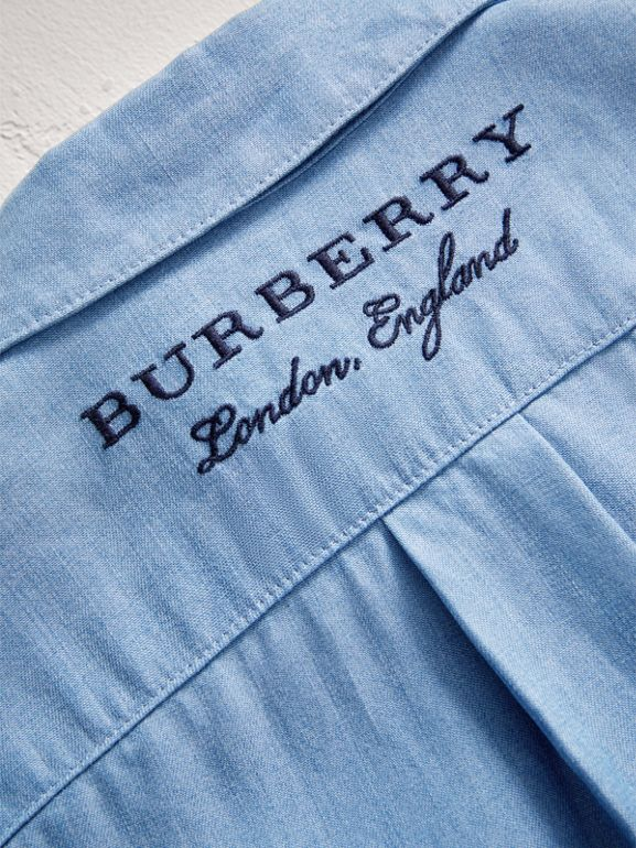 Short-sleeve Chambray Jumpsuit in Steel Blue - Children | Burberry - cell image 1