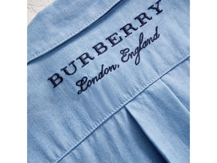 Short-sleeve Chambray Jumpsuit in Steel Blue - Girl | Burberry - cell image 1