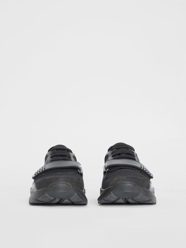 Mesh Detail Suede and Neoprene Sneakers in Black - Men | Burberry United Kingdom - cell image 3