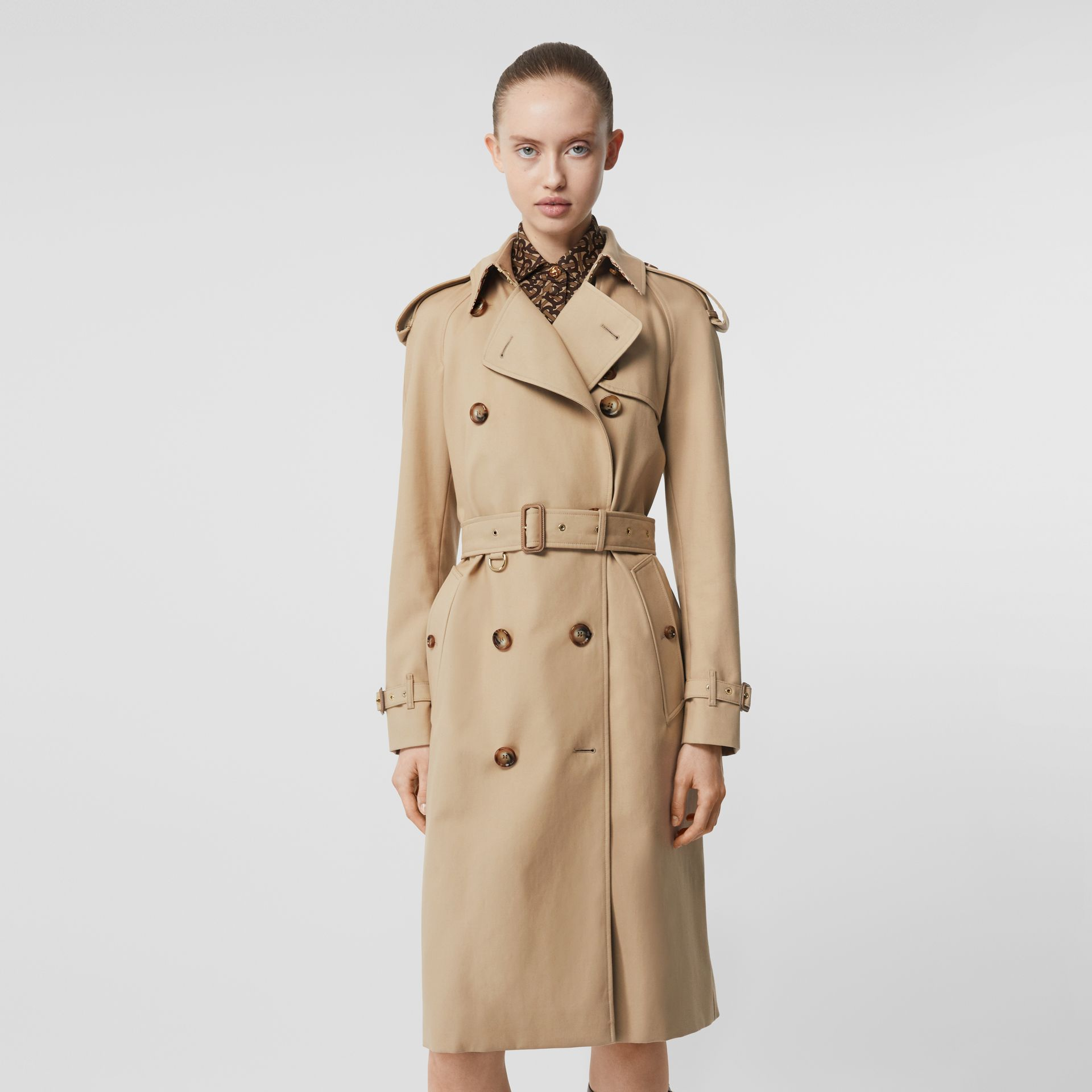 Archive Print-lined Cotton Gabardine Trench Coat in Honey - Women | Burberry United Kingdom - gallery image 6